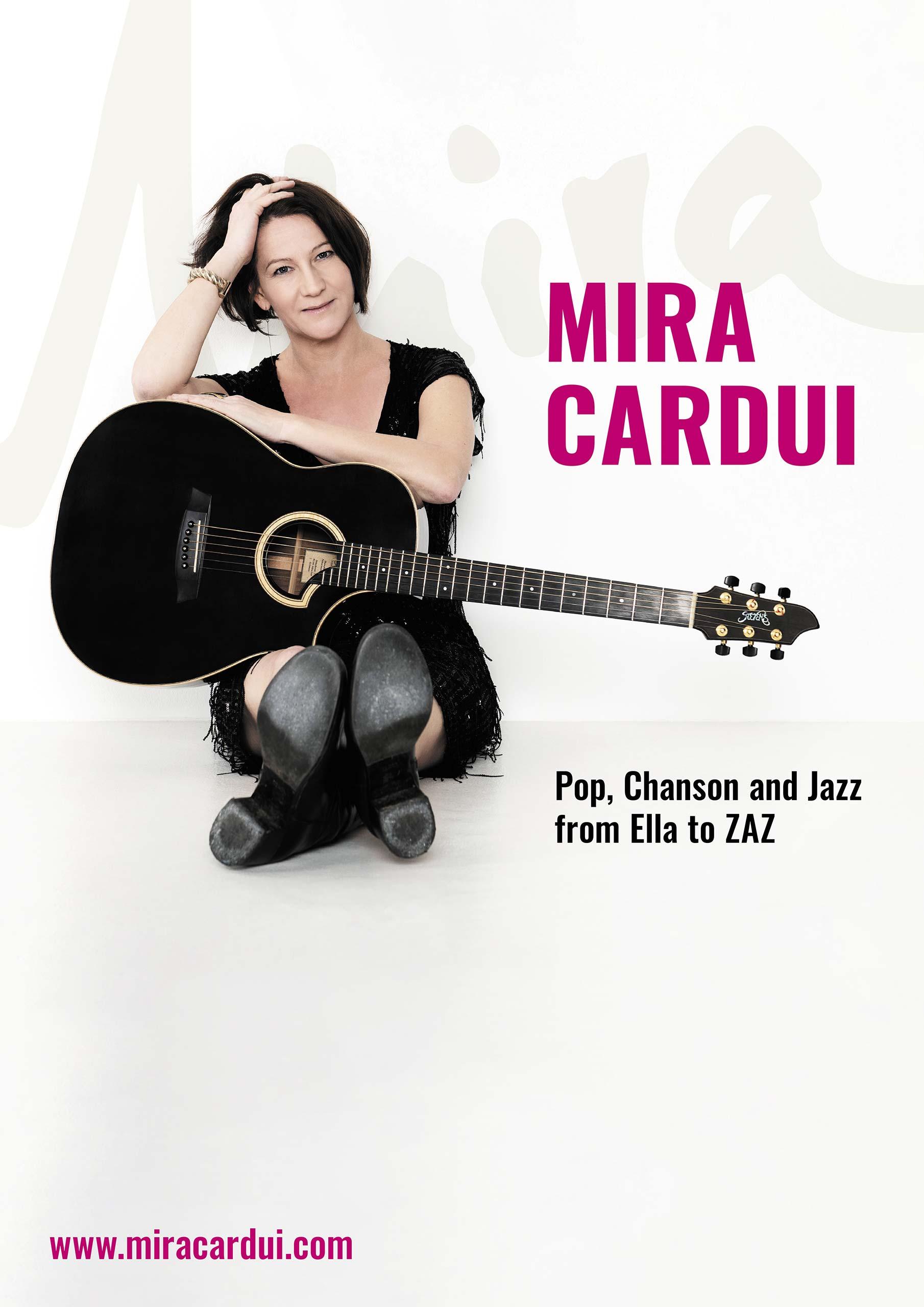 Plakat Pop Chanson and Jazz Mira Cardui DIN A3 und DIN A2 zum Download